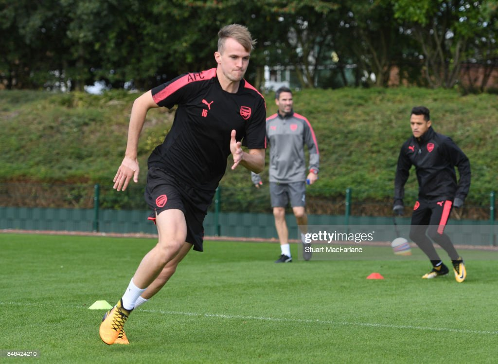 Rob Holding of Arsenal during a training session at London Colney on September 13, 2017 in St Albans, England.