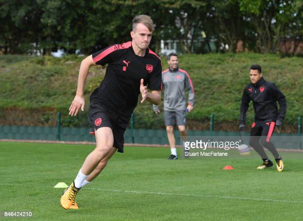 Rob Holding of Arsenal during a training session at London Colney on September 13 2017 in St Albans England