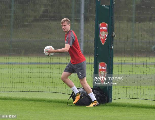 Rob Holding of Arsenal during a training session at London Colney on September 19 2017 in St Albans England