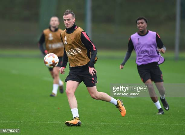 Rob Holding of Arsenal during a training session at London Colney on October 18 2017 in St Albans England