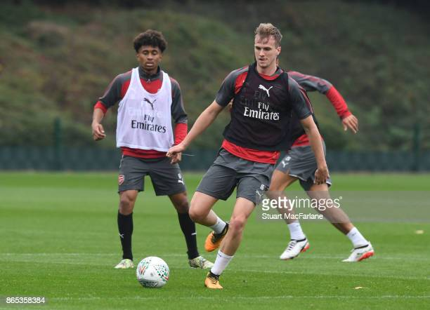 Rob Holding of Arsenal during a training session at London Colney on October 23 2017 in St Albans England