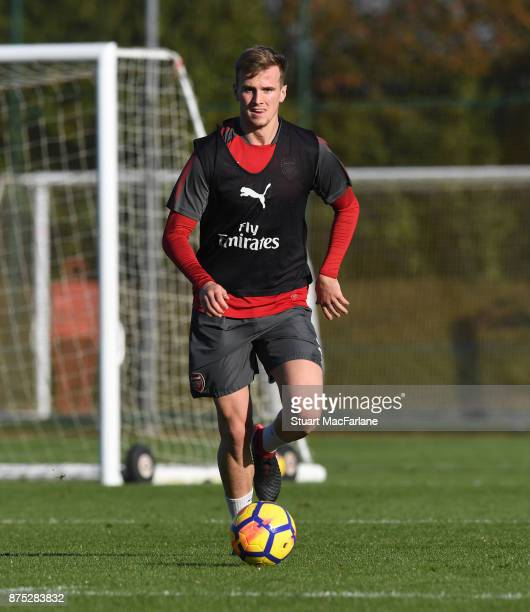 Rob Holding of Arsenal during a training session at London Colney on November 17 2017 in St Albans England
