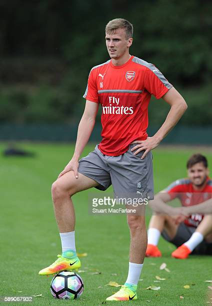 Rob Holding of Arsenal during a training session on August 13 2016 in St Albans England