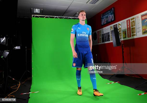 Rob Holding of Arsenal during his media duties before Arsenal Training Session at Emirates Stadium on August 3 2017 in London England