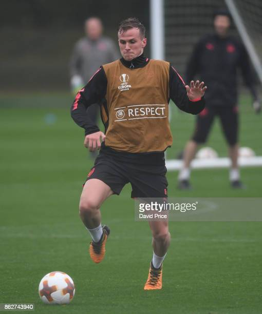 Rob Holding of Arsenal during the Arsenal Training Session at London Colney on October 18 2017 in St Albans England