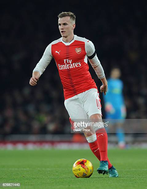 Rob Holding of Arsenal during the EFL League Cup match between Arsenal and Southampton at Emirates Stadium on November 30 2016 in London England