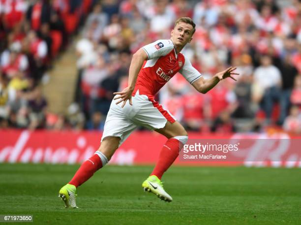 Rob Holding of Arsenal during the Emirates FA Cup SemiFinal match between Arsenal and Manchester City at Wembley Stadium on April 23 2017 in London...