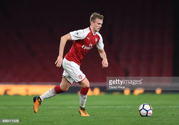 Rob Holding of Arsenal during the match between Arsenal U23 and Manchester City U23 at Emirates Stadium on August 21 2017 in London England