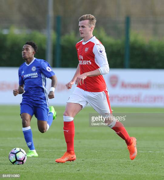 Rob Holding of Arsenal during the match between Arsenal U23 and Chelsea U23 at London Colney on February 24 2017 in St Albans England