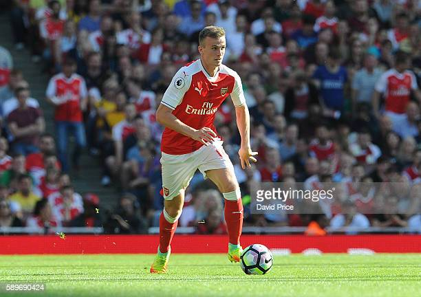 Rob Holding of Arsenal during the Premier League match between Arsenal and Liverpool at Emirates Stadium on August 14 2016 in London England