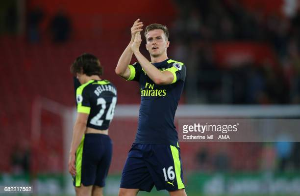 Rob Holding of Arsenal during the Premier League match between Southampton and Arsenal at St Mary's Stadium on May 10 2017 in Southampton England