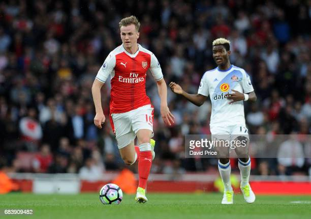 Rob Holding of Arsenal during the Premier League match between Arsenal and Sunderland at Emirates Stadium on May 16 2017 in London England