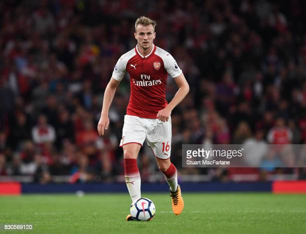 Rob Holding of Arsenal during the Premier League match between Arsenal and Leicester City at Emirates Stadium on August 11 2017 in London England