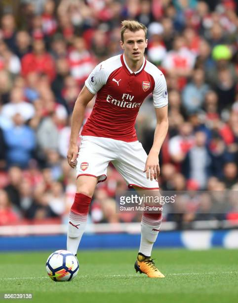 Rob Holding of Arsenal during the Premier League match between Arsenal and Brighton and Hove Albion at Emirates Stadium on September 30 2017 in...