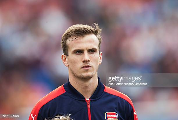 Rob Holding of Arsenal during the PreSeason Friendly between Arsenal and Manchester City at Ullevi on August 7 2016 in Gothenburg Sweden