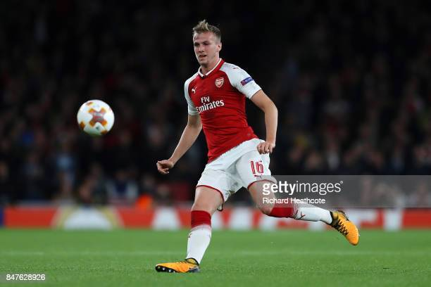 Rob Holding of Arsenal during the UEFA Europa League group H match between Arsenal FC and 1 FC Koeln at Emirates Stadium on September 14 2017 in...