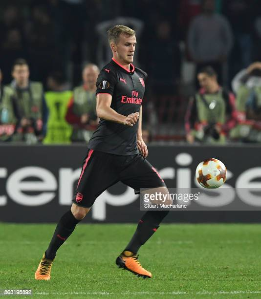 Rob Holding of Arsenal during the UEFA Europa League group H match between Crvena Zvezda and Arsenal FC at Rajko Mitic Stadium on October 19 2017 in...