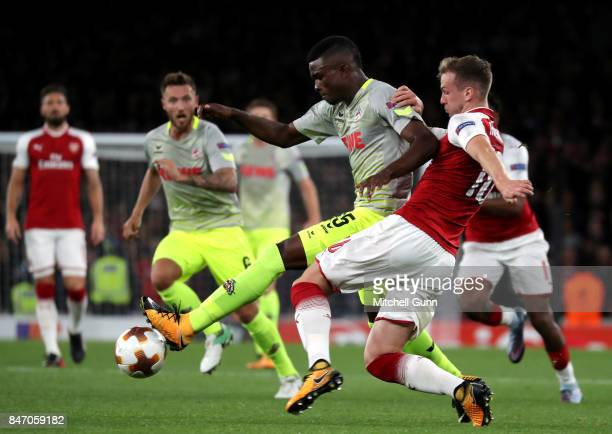 Rob Holding of Arsenal fouls Jhon Cordoba of FC Koeln during the UEFA Europa League group H match between Arsenal FC and 1 FC Koeln at Emirates...