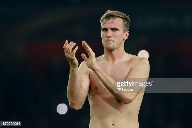 Rob Holding of Arsenal gestures during UEFA Europa League Group H match between Arsenal and Red Star Belgrade at The Emirates London 2 Nov 2017
