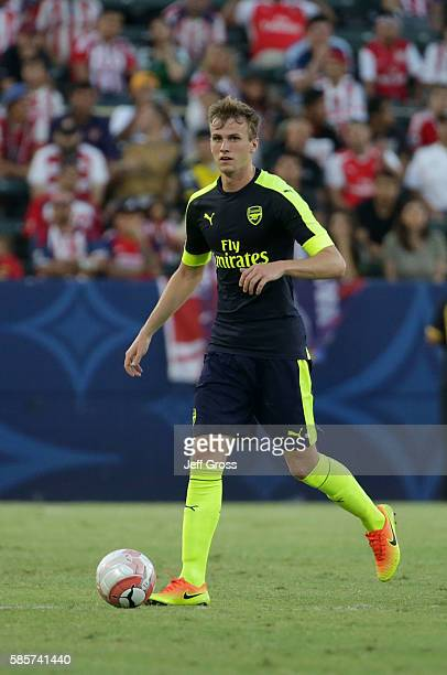 Rob Holding of Arsenal in action against Chivas de Guadalajara at StubHub Center on July 31 2016 in Carson California