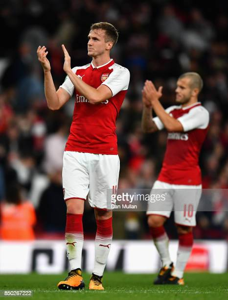 Rob Holding of Arsenal shows appreciation to the fans after the Carabao Cup Third Round match between Arsenal and Doncaster Rovers at Emirates...