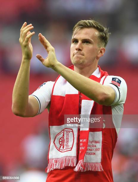 Rob Holding of Arsenal shows appreciation to the fans after The Emirates FA Cup Final between Arsenal and Chelsea at Wembley Stadium on May 27 2017...