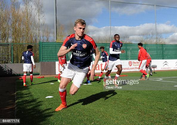Rob Holding of Arsenal warms up before the match between Arsenal U23 and Chelsea U23 at London Colney on February 24 2017 in St Albans England