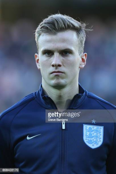 Rob Holding of England looks on prior to the U21 international friendly match between Denmark and England at BioNutria Park on March 27 2017 in...