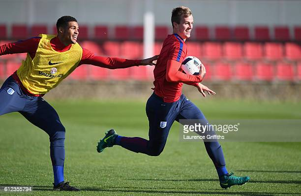Rob Holding of England U21 in action during a training session at St Georges Park on October 4 2016 in BurtonuponTrent England