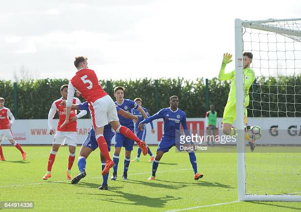 Rob Holding scores a goal for Arsenal during the match between Arsenal U23 and Chelsea U23 at London Colney on February 24 2017 in St Albans England