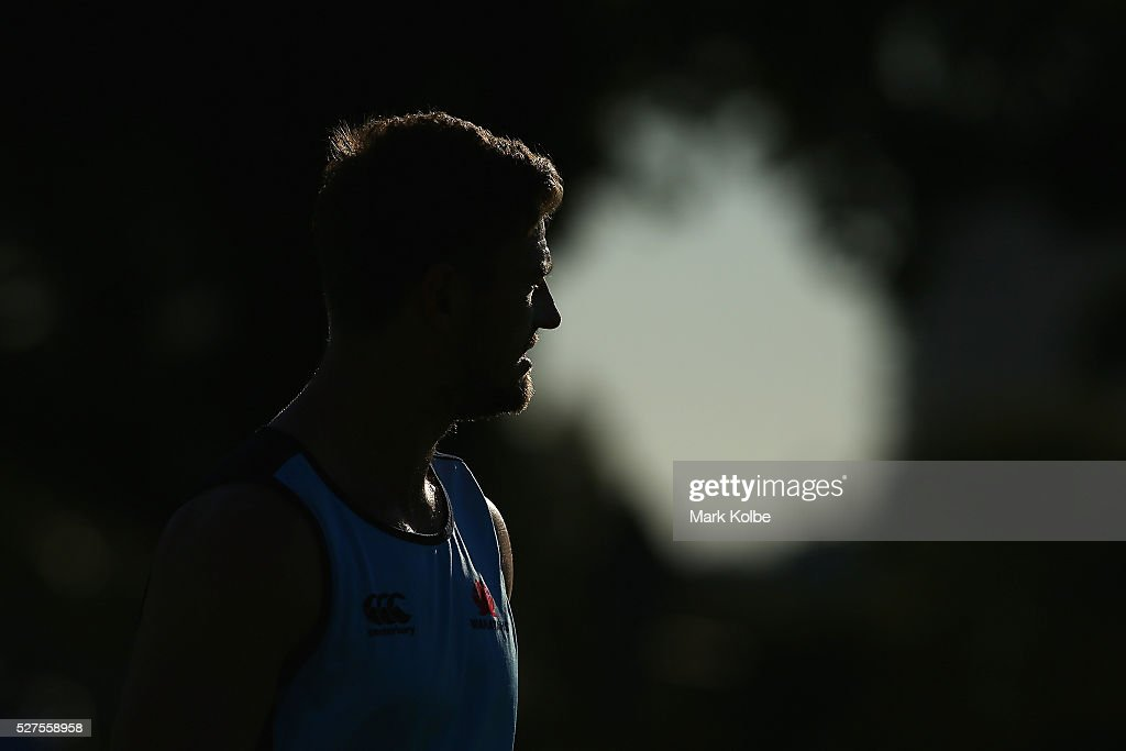 Rob Horne watches on during a Waratahs Super Rugby training session at Kippax Lake on May 3, 2016 in Sydney, Australia.