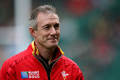 Rob Howley Attack Coach of Wales looks on prior to kickoff during the 2015 Rugby World Cup Quarter Final match between South Africa and Wales at...
