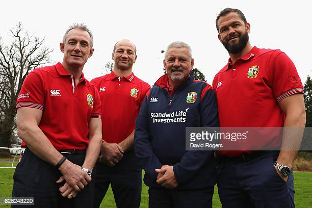 Rob Howley backs coach Steve Borthwick forwards coach Warren Gatland head coach and Andy Farrell the defence coach pose during the 2017 British Irish...