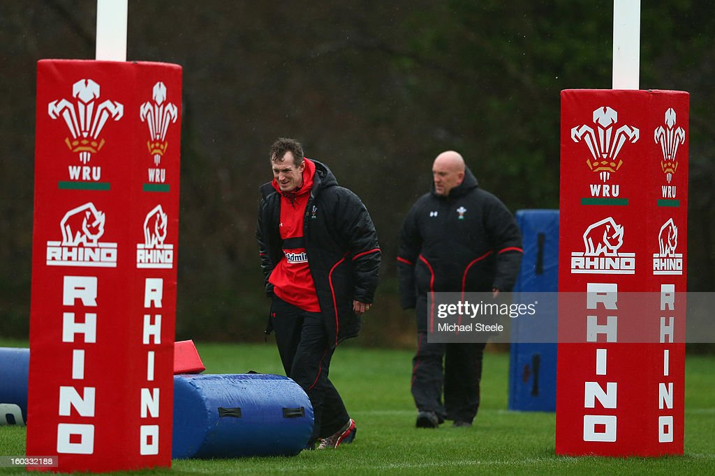 Rob Howley (L) coach of Wales and Shaun Edwards (R) assistant coach during the Wales training session at Vale Resort on January 29, 2013 in Cardiff, Wales.