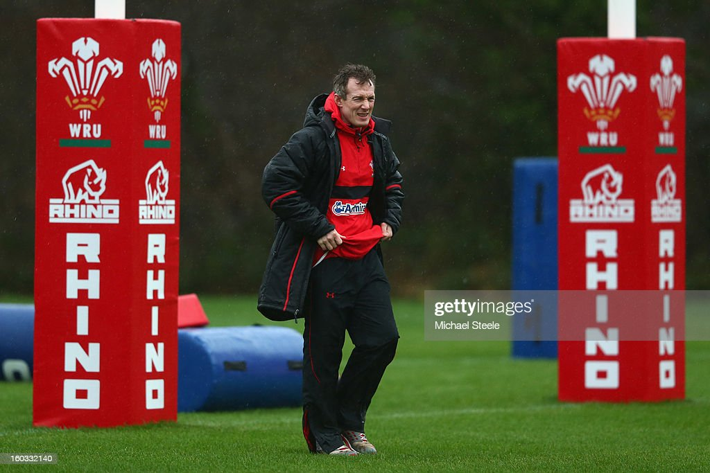 Rob Howley coach of Wales looks on during the Wales training session at Vale Resort on January 29, 2013 in Cardiff, Wales.