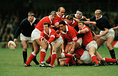 Rob Howley of Wales throws the ball during the Five Nations Rugby Union International between Wales and Scotland at Cardiff Arms Park on 17th...