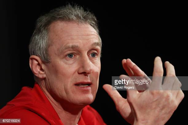 Rob Howley speaks to the media during the British and Irish Lions tour squad announcement at the Hilton London Syon Park Hotel on April 19 2017 in...