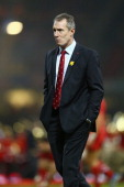 Rob Howley the assistant coach of Wales during the RBS Six Nations match between Wales and France at the Millennium Stadium on February 21 2014 in...