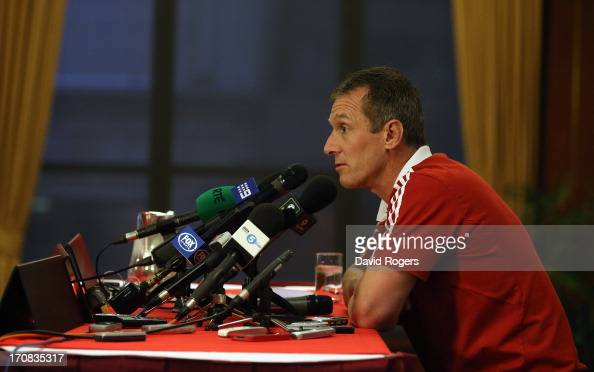 Rob Howley the British and Irish Lions backs coach talks to the media at a conference held at the Tattersalls Club on June 19 2013 in Brisbane...