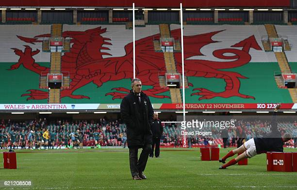 Rob Howley the head coach of Wales looks on prior to kickoff during the international match between Wales and Australia at the Principality Stadium...