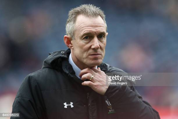 Rob Howley the innterim head coach of Wales watches over his team's warm up prior to kickoff during the RBS Six Nations match between Scotland and...