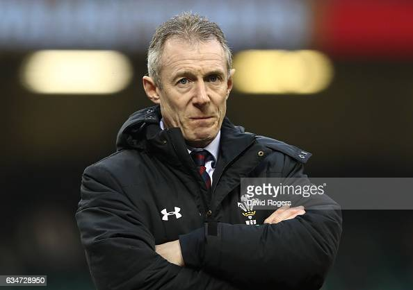 Rob Howley the interim head coach of Wales looks on as his team warm up prior to kickoff during the RBS Six Nations match between Wales and England...