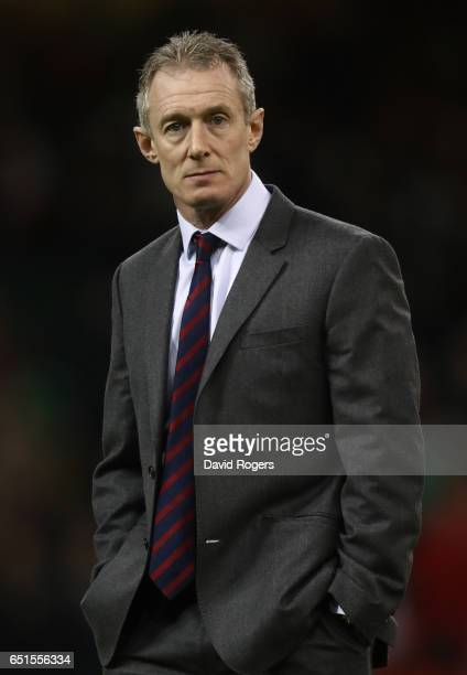 Rob Howley the interim head coach of Wales watches over his players in the pre match warm up prior to during the Six Nations match between Wales and...