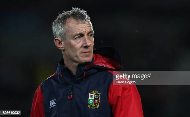 Rob Howley the Lions backs coach looks on during the match between the Auckland Blues and the British Irish Lions at Eden Park on June 7 2017 in...