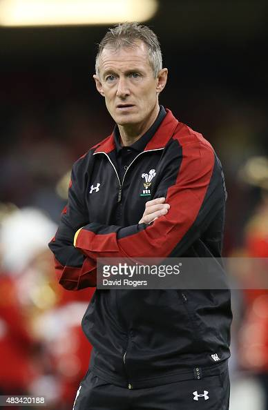 Rob Howley the Wales backs coach looks on during the International match between Wales and Ireland at the Millennium Stadium on August 8 2015 in...
