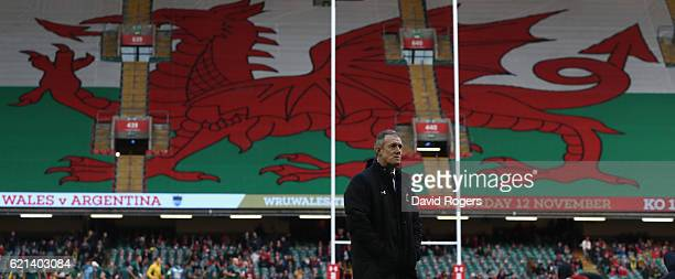Rob Howley the Wales head coach looks on during the International match between Wales and Australia at the Principality Stadium on November 5 2016 in...