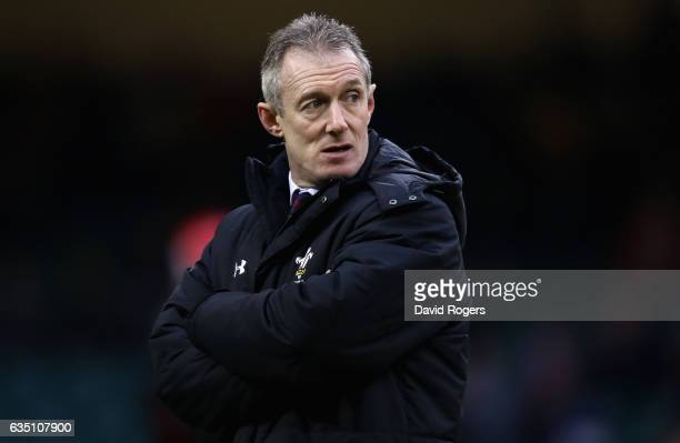 Rob Howley the Wales head coach looks on during the RBS Six Nations match between Wales and England at the Principality Stadium on February 11 2017...