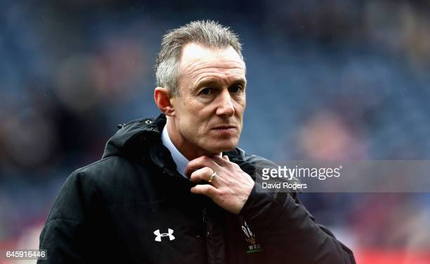 Rob Howley the Wales head coach looks on during the RBS Six Nations match between Scotland and Wales at Murrayfield Stadium on February 25 2017 in...