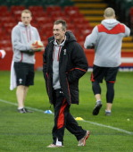 Rob Howley the Wales interim coach looks on during the Wales' captain's run at the Millennium Stadium on March 15 2013 in Cardiff Wales