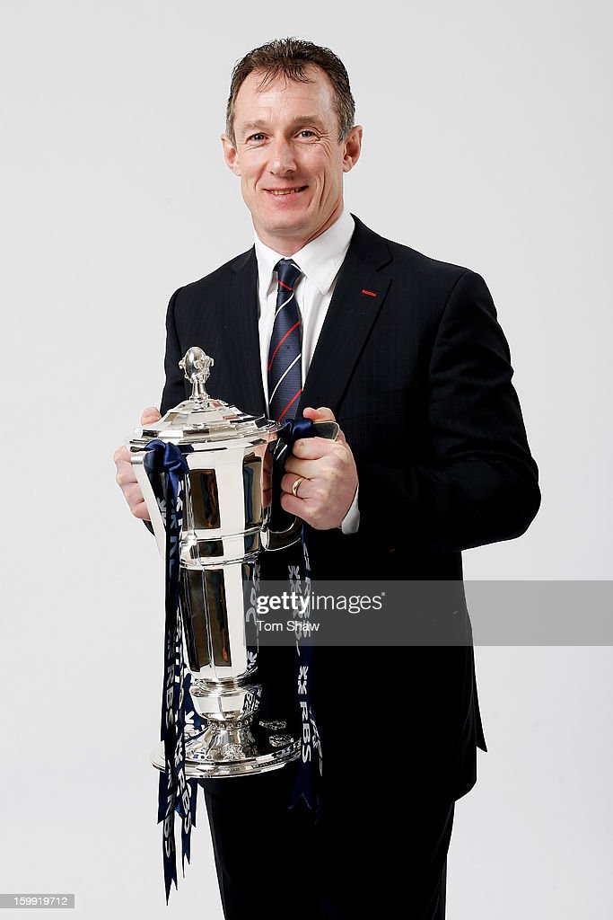 Rob Howley the Wales interim head coach poses with the Six Nations trophy during the RBS Six Nations launch at The Hurlingham Club on January 23, 2013 in London, England.